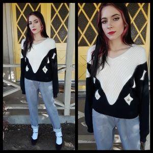 Classy vtg 80s angora blend sweater with beading!